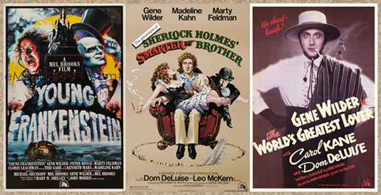 Gene Wilder Films Collage